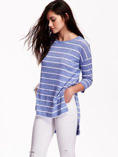 Linen-Blend Hi-Lo Tee for Women Product Image