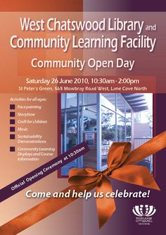 West Chatswood Library Community Open Day Poster 26 June 2010