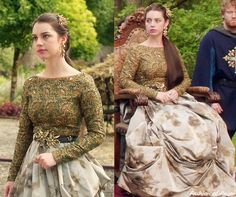 "In the episode 2x03 (""Coronation"") Queen Mary wears this Green Embroidered Boatneck Top and Printed Maxi Skirt custom made by #Reign Costume Department. Worn with a vintage belt, Gillian Steinhardt labyrinth and signet rings."