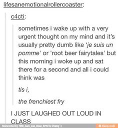 OMG LAUGHED WAY TOO HARD!!! (By the way Je suis un pomme means I am an apple)