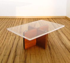 Dollhouse Furniture Modern Teak and plexiglass coffee table 1:12 scale by debbysminis on Etsy https://www.etsy.com/listing/172427028/dollhouse-furniture-modern-teak-and