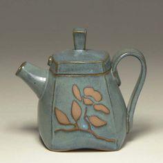 Sage handbuilt teapot Pinkul Pottery teapot by PinkulPottery