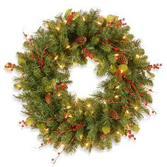 Buy the Classical Collection Wreath with Red Berries, Pine Cones, Holly Leaves & Clear Lights at Michaels. The Classical Collection wreath features decorative touches that include red berries, holly leaves and pine cones. Outdoor Christmas Wreaths, Artificial Christmas Wreaths, Christmas Ideas, Woodland Christmas, Christmas Crafts, Pre Lit Wreath, Berry Wreath, Holly Wreath, Holly Leaf