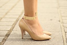 Ankle cuffs and nude heels