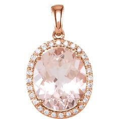 14k Rose Gold Genuine Morganite And Diamond Pendant