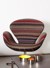 SWAN - New York-based textile design company Maharam has teamed up with Fritz Hansen and Kvadrat to launch Point by Paul Smith Design Furniture, Living Furniture, Unique Furniture, Vintage Furniture, Fritz Hansen, Paul Smith, Swan Chair, Patterned Furniture, Nordic Design