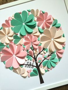 Heart Tree Guest Book Custom Mint & Pink Wedding 3D por MioGallery