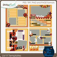 List It Templates :: Gotta Pixel Digital Scrapbook Store by Miss Fish Templates  $3.99