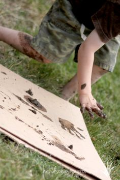 Playing in the mud making prints - make prints with animal feed, their own handprints or even footprints.