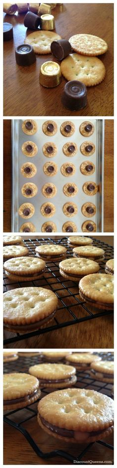 Rolo Stuffed Ritz Crackers!  Ooo, then dip them in chocolate - that would be fantastic!
