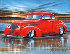 1939 Chevy Coupe Streetrod Car Art Print 11x14 39