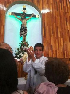 """Eucharistic Miracle Guadalajara in """"Maria Mother of the Church"""" church in Mexico at 3:00 pm on July 24, 2013. Just before the beginning of a Eucharistic Congress. The Holy Host is bleeding, and it is all around the media. There are many people going to see it. Fr. Dolores (Lolo) the pastor of the church is the one who saw the Eucharistic Miracle."""
