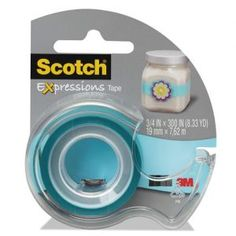 """Scotch Expressions Transparent Tape - 0.75"""" x 25 ft - 1"""" Core - Writable Surface - 1 Roll - Turquoise"""