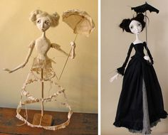 Jag : wire , folie, lite väggtejp, sen lufttorkande lera ( även i flytande form för att fästa på plasten & för fingrar) jag använder också li… Paper Mache Diy, Paper Mache Sculpture, Wire Crafts, Paper Crafts, Paperclay, Fairy Dolls, Wire Art, Art Plastique, Altered Art