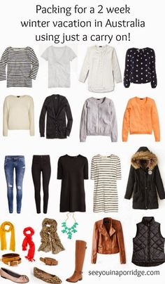 See You In A Porridge: Packing for Winter in Australia: 2 Weeks in a carry on - Travel Tips Winter Travel Outfit, Winter Packing, Winter Outfits, Capsule Wardrobe, Travel Wardrobe, Capsule Outfits, Fashion Capsule, Wardrobe Ideas, Winter In Australia