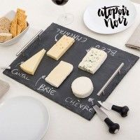 If you're passionate about cheese, taste your favourite ones with the fashionable and practical rectangular slate cheese board with accessories Atopoir Noir! It includes chalk, side handles and two cheese knives (length with handle: approx. Brie, Slate Cheese Board, Kitchenware, Feta, Code Promo, Google, Gourmet, Cooking, Rocks