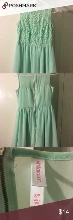 Mint green embroidered dress Pretty mint chiffon look dress with embroidered flowers Xhilaration Dresses Mini