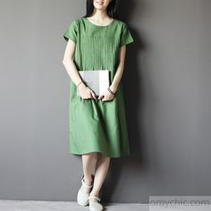 Green linen summer maxi dress plus size linen casual maternity dresses
