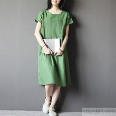 Green linen summer maxi dress plus size linen casual maternity dresses