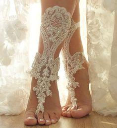 free ship, Ivory floral bridal anklet, ivory Beach wedding barefoot sandals, bangle, wedding anklet, , anklet, Handmade