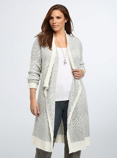 Print Open Front Cardigan, SPECKLED DOT