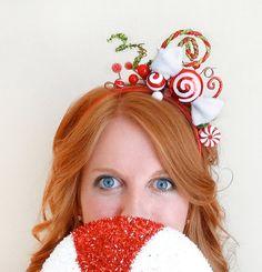 Christmas headband adult red christmas hair bow by TinseledTiara SHOP ONLINE: www.tinseledtiara.etsy.com