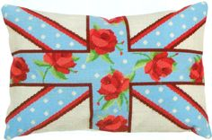 NeedlepointUS - World-class Needlepoint - Floral Union Jack Needlepoint Cushion Kit from the Anchor Living Collection, Needlepoint Kits, ALR35