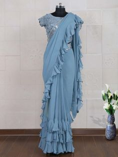 Buy Steel Blue Color Ruffle Saree by Akanksha Singh at Fresh Look Fashion Choli Blouse Design, Saree Blouse Designs, Saree Draping Styles, Saree Styles, Fancy Sarees Party Wear, Sarees For Girls, Stylish Blouse Design, Indian Gowns Dresses, Saree Trends