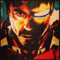 Iron Man (Robert Downey Jr.) perler bead art by jeddybear3k (30,300 beads)