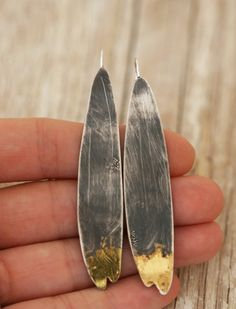 Scale Earrings Gold Leaf and Sterling Silver by afjewellery