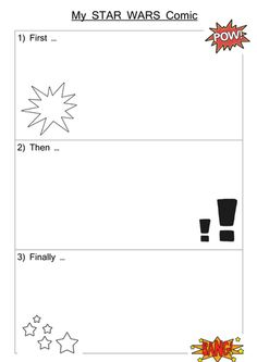 Used with a Year 1 class for the chn to create their own star ars comic strip in literacy.         We first made a story mountain with a beginning (spaceship cras...