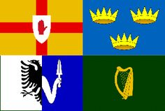 Irish Four Provinces Flag The Four Provinces of Ireland Flag is divided into quarters, each representing one of the Provinces: Leinster(Dublin), Ulster (Belfast), Munster (Cork) and Connaught (Galway). Originally there was a fifth Province, Meath, but this was integrated into Leinster. The Munster flag has 3 crowns which represent the 3 ancient kingdoms of Thomond, Desmond and Ormond. Leinster flag is green with the famous Irish harp.Ulster has the red hand. Connaught has the eagle and sword