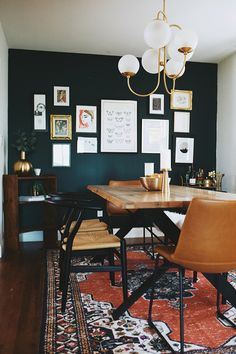 Festa Oak Dining Table For 6 - - It's a wild one. Finished with beautiful, organically cut planks, the Festa table brings chic verdant ease to your dining area. With interesting angled metal legs, the Festa manages to be natural without being rustic. Green Dining Room, Dining Room Colors, Dining Room Design, Eclectic Dining Rooms, Dark Dining Rooms, Dark Green Living Room, Dining Room Colour Schemes, Mid Century Modern Dining Room, Dark Rooms