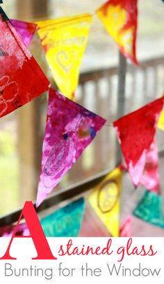 A Stained Glass Bunting for the Window! Kid-friendly art activity with melted crayon drawing, watercolor, and oil. Beautiful!!
