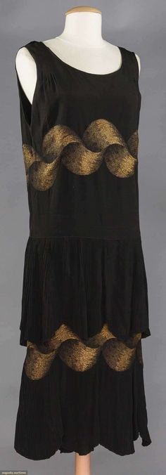 Evening dress, silk with lame, Jean Patou designer, French, 1920s
