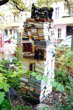 """The """"Booktower"""" in the Graefe Straße in Berlin Kreuzberg. It`s a very nice streets with a lot of small shops and cafes near the Landwehrkanal. Definitely a place where you could enjoy a cooffe and a good book in one of the small cafes..."""