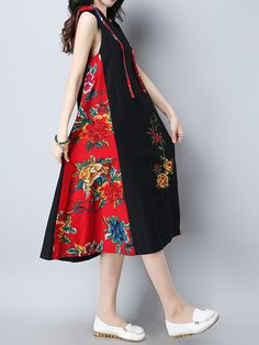 Vintage Women Patchwork Hooded Sleeveless Dresses