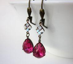Deep Pink Rose Crystal Earrings Crystal by DiscoLemonadeDesigns, $24.99