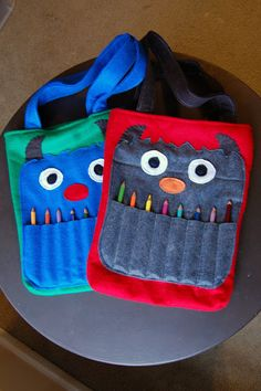 Monster coloring totes. Stinking adorable!