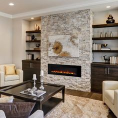 Fireplace Feature Wall, Fireplace Tv Wall, Linear Fireplace, Wall Mount Electric Fireplace, Fireplace Built Ins, Fireplace Remodel, Living Room With Fireplace, Modern Stone Fireplace, Basement Fireplace