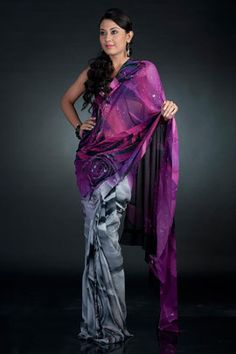 A digital printed sari in crepe-de-chine  fabric, comes with an unstitched Crepe-de-chine  blouse piece.
