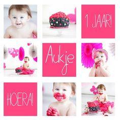 leuk idee voor uitnodiging Happy Birthday Baby, Birthday Wishes, Girl Birthday, Newborn Fotografie, Foto Baby, 1st Birthday Invitations, Baby Portraits, Cake Smash, Diy For Kids