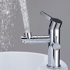 Contemporary High Quanlity Upward Spay Face Washing Centerset Two Handle One Hole Chromed Brass Bathroom Sink Faucet  – USD $ 98.09  LITB