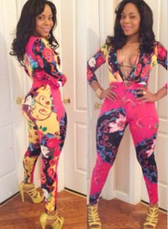 5fcac707e264 Woman Flower Printed Deep V Neck Sexy Jumpsuits Wholesale Shoes