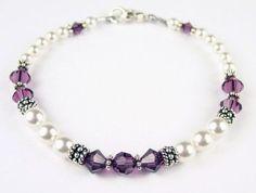 $65.0 Amethyst Birthstone Swarovski Crystal Beaded Bracelets - LARGE 8 1/4 In.From Gemstone Gifts Handmade Jewelry $65.0