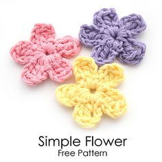 A quick and easy crochet pattern for a Simple Flower. Some of you will already know how to make a flower similar to this, but for those of you who don't, I have posted this simple flower pattern on my website. These are fun and very quick to make. They also have a lot of different uses. I like to use these little flowers for a lot of different things. I sew them on bags, pacifier clips, skirts, backpacks, hats, scarves, shirts, and headbands. Enjoy!