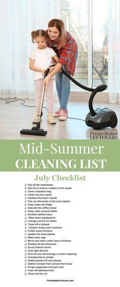 The house gets dirty faster over the summer with the kids home, dragging dirt into the house. Use this Mid-Summer Cleaning List to do your summer cleaning. Includes a printable cleaning checklist, summer decluttering tips, and summer organization tips.