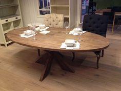 Teak tafel ovaal old grey oud grijs 220x110x75.JPG