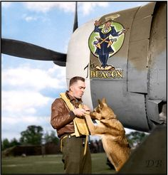 Major Howard Davis 'Deacon' Hively from Columbus, Ohio, with 334 Fighter Squadron, 4 Fighter Group, 8th Air Force, posed in front of P-47C-5-RE Thunderbolt QP-J (41-6576) with 'Duke' the squadron mascot. RAF Debden, Essex, England, late July 1944 (he was promoted to Major on July 28 1944)