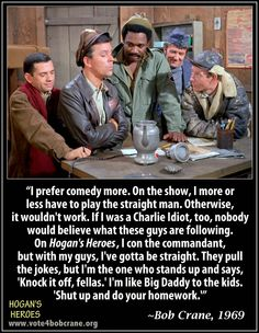 "Still from ""Hogan's Heroes"" with short comment about the show from the star, Bob Crane."